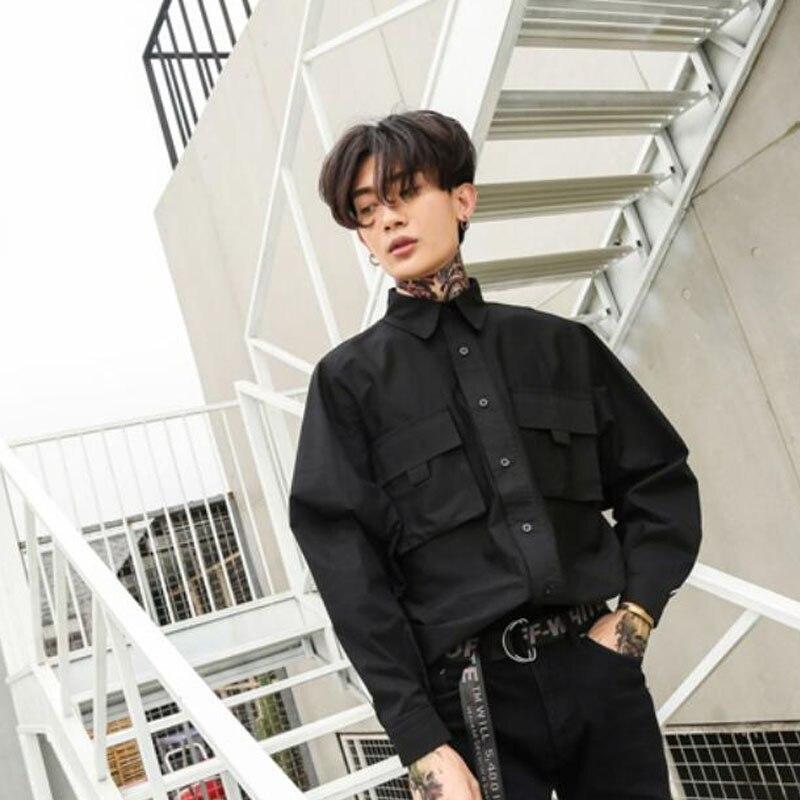Personality Big Eyelets Oversized Men Shirt Black Street Punk Hip Hop Long Sleeve Blouse Man Vintage Casual Shirts