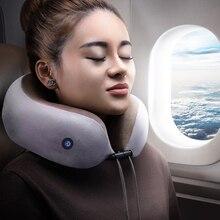 U-Shaped Travel Pillow Vibration Massage Pillow Portable Neck Pillows Sleep Helper for Office Home Outdoor Trip Car Train