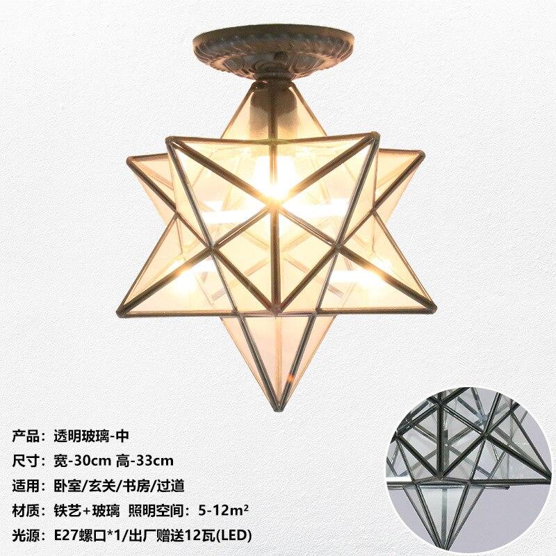 Американская пентаграмма входной свет коридор балкон потолочный светильник спальня столовая креативная звезда стеклянная лампа - Цвет корпуса: G
