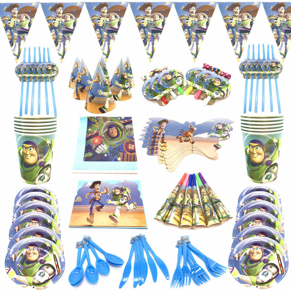 Juguete Historia Cumpleaños Fiesta Suministros Globos Taza Placa Mascarilla Fiesta De Historia De Juguete Tema Mantel Azul Fiesta Festival Decoración