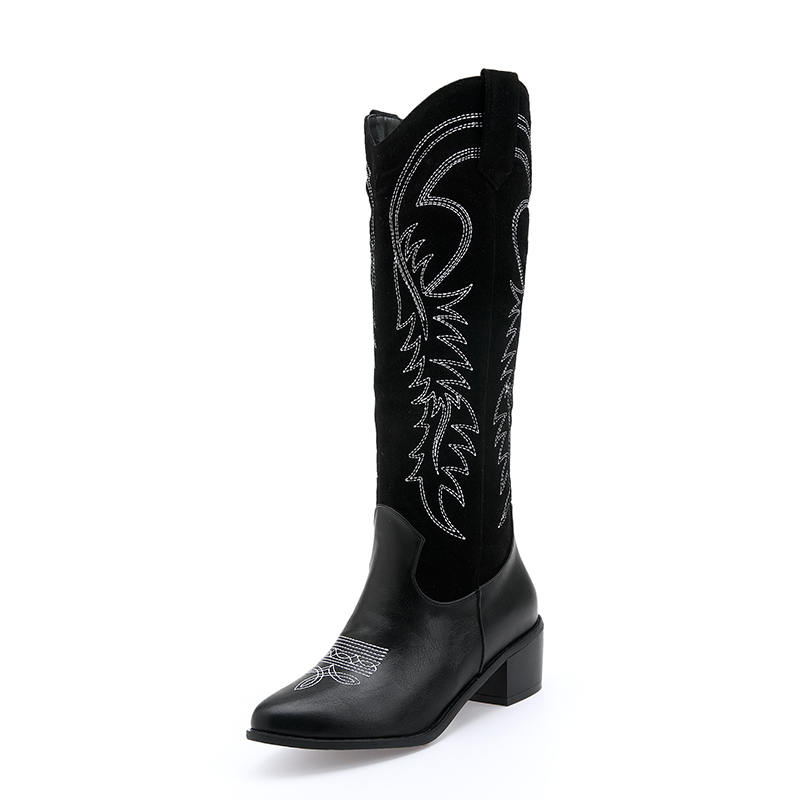 2019 Classic Embroidery Western Cowgirl Boots Pointed Toe Black Brown Winter Cowboy Boots Knee High Boots Shoes Women