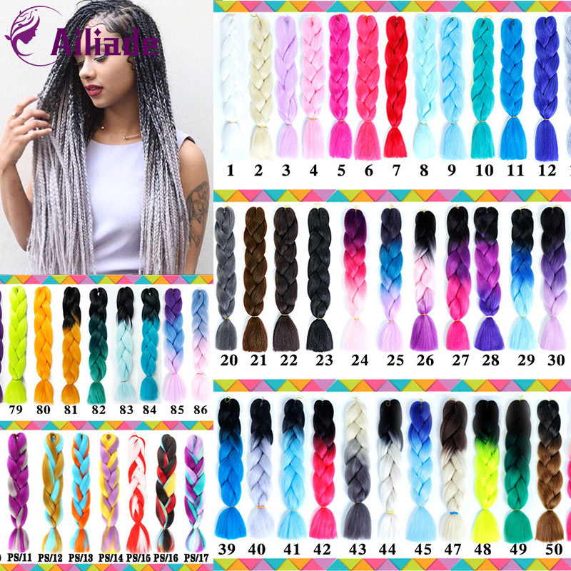 AILIADE 24inch Jumbo Braids Long Strands Ombre Crochet Braid Synthetic Braiding Hair Extensions For Women Purple Blue Pink Red