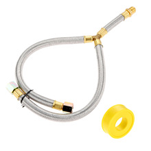 Propane Grill Y-Splitter Extension Adapter Braided Hose Length 15 with 3/8 Flare Connection with 1Pc Gas Line Pipe Thread Tape