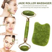 Jade Roller Massaging Tool Facial Scraping Plate Massage Set for Neck Arms Back Legs