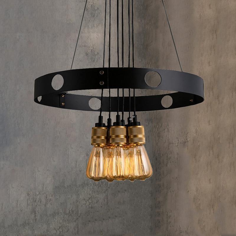 Creative 6 heads E27 chandelier loft iron circle light restaurant bar living room dining room cafe pendant lamp droplight|Pendant Lights| |  - title=