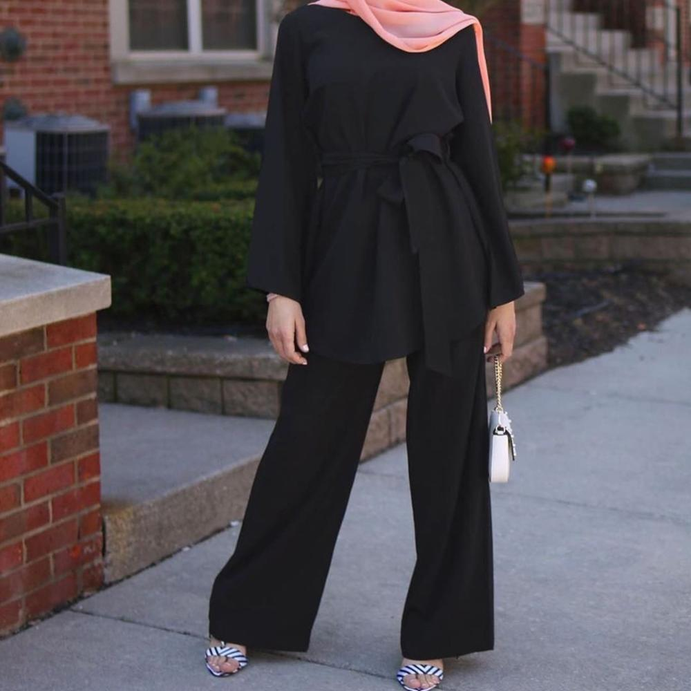Women Muslim Nida Matching Set Long Sleeve Loose Long Top Tunic + Long Wide Leg Pants Solid Color Turkey Modest 2pcs Pants Sets