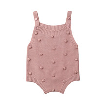 Baby Knitted Rompers Little Balls Sleeveless Jumpsuit Newbor