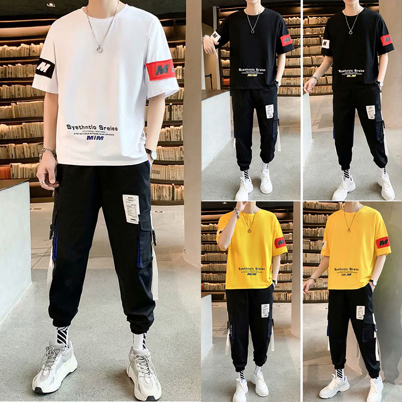 2020 Summer Fashion Men's Sets Five-cent Sleeve Tshirts+Sports Long Pant Casual Streetwear Harajuku 2 Pieces Sets Men Size M-3XL