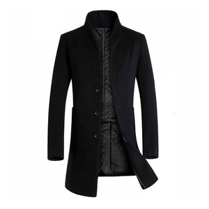 Men Winter Warm Solid Color Woolen Trench Coat Slim Outwear Overcoat Long Jacket Thickened Men Coats Jackets wool coat