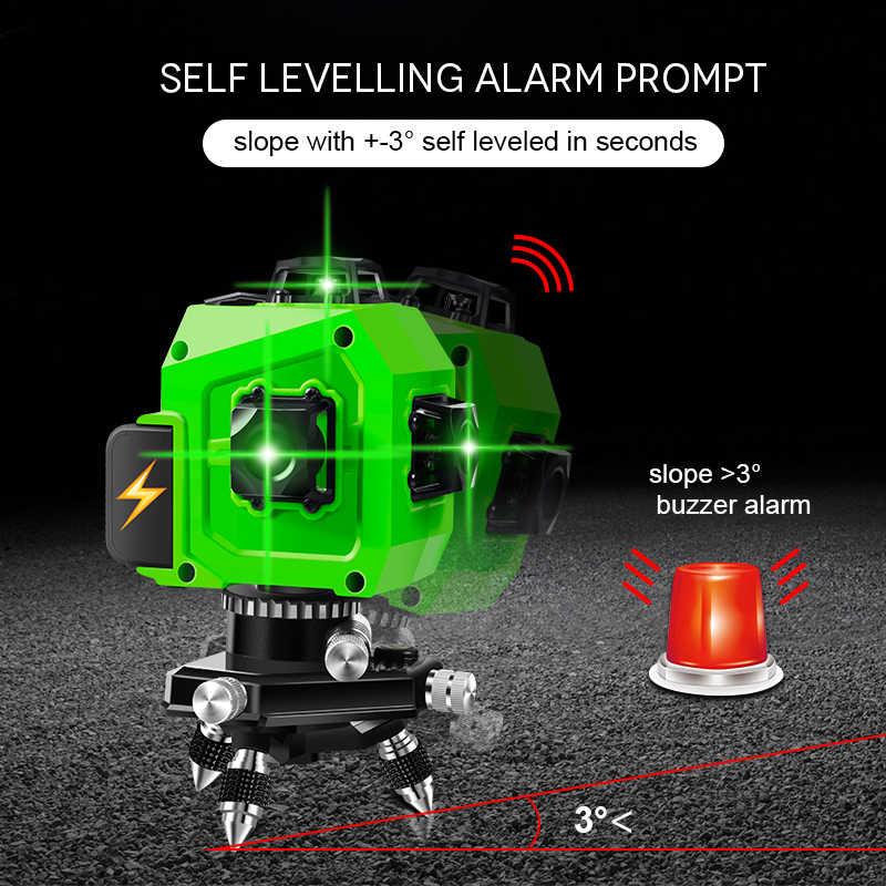 PRACMANU lazer seviyesi yeşil 12 satır 3D seviyesi kendini tesviye 360 yatay ve dikey çapraz süper güçlü yeşil lazer seviyesi