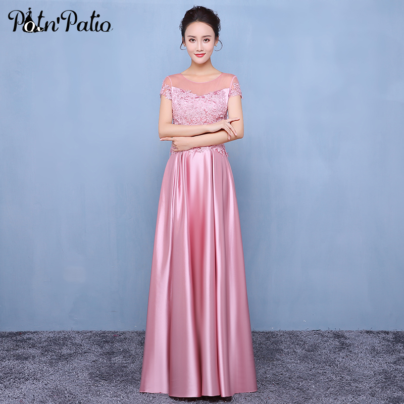 Pink Long   Prom     Dresses   With Short Sleeves Appliques Satin Floor-length Formal Gowns A-line High Quality Evening   Dresses   2019