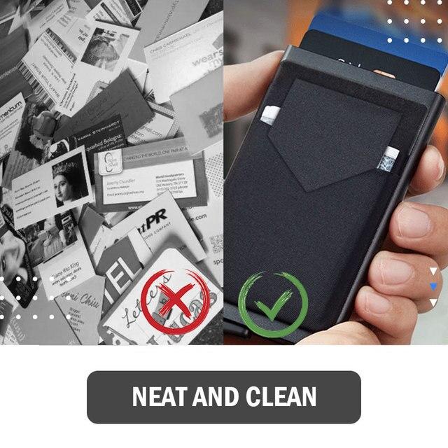 Portefeuille Pop-Up pour hommes et femmes, carte d'identité RFID, Mini paquet, sac de rangement d'équipement de protection en aluminium et métal, à dégagement rapide intelligent 6