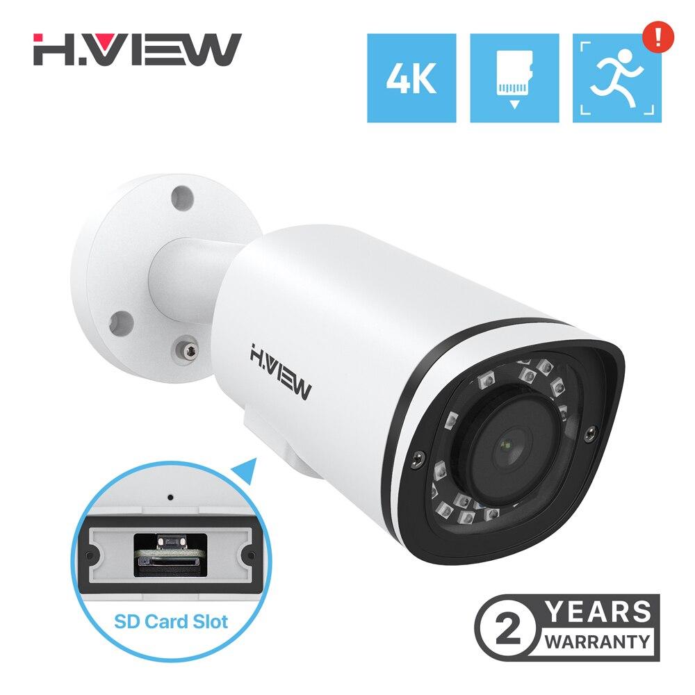 H.View-caméra de Surveillance extérieure ip Poe hd 8MP/4K, dispositif de sécurité, avec fente pour carte SD, Audio, détection humaine, NVR et Onvif