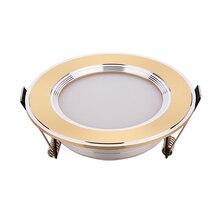 ทองเงินดาวน์ไลท์เพดานLED Spot Lightโคมไฟ 3W 5W 7Wสีขาวอุ่นๆความปลอดภัย