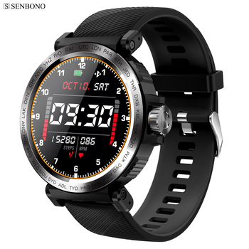 SENBONO S18 Full Screen Touch Smart Watch IP68 waterproof Men Sports Clock Heart Rate Monitor  Smartwatch for IOS Android phone 1