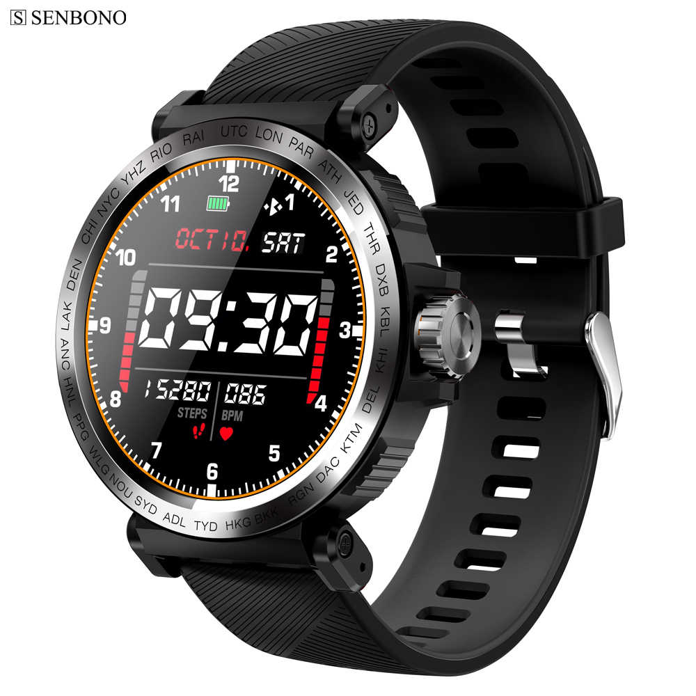 Senbono S18 Full Screen Touch Smart Horloge IP68 Waterdichte Mannen Sport Klok Hartslagmeter Smartwatch Voor Ios Android Telefoon