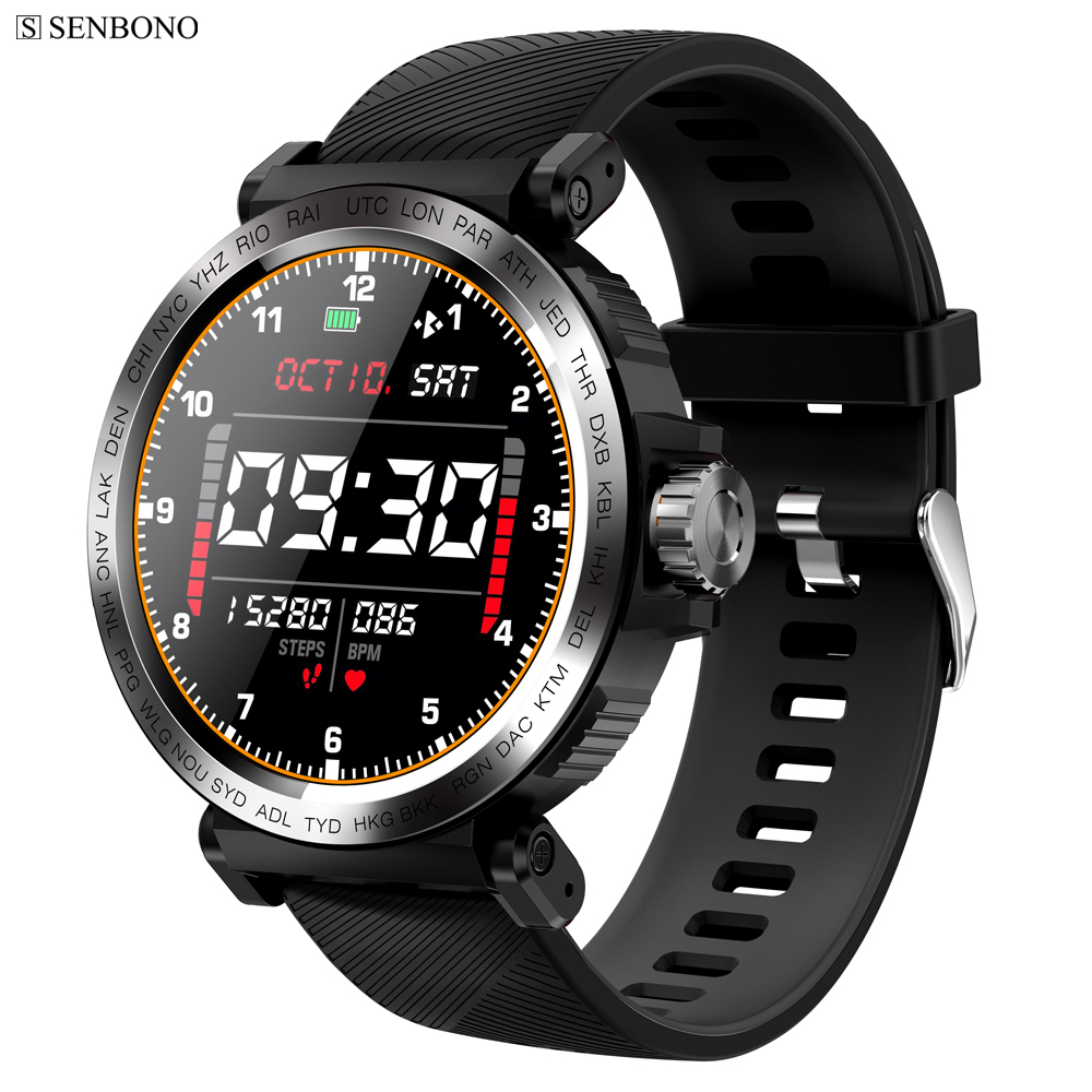SENBONO S18 Full Screen Touch Smart Watch IP68 waterproof Men Sports Clock Heart Rate Monitor  Smartwatch for IOS Android phone|Smart Watches|   - AliExpress