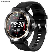 Senbono S18フルスクリーンタッチスマート腕時計IP68防水男性スポーツ時計心拍数モニタースマートウォッチiosのandroid携帯