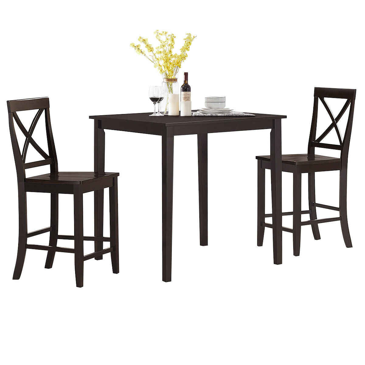 9 Piece Kitchen Dining Set Counter Height Square Table with 9 ...
