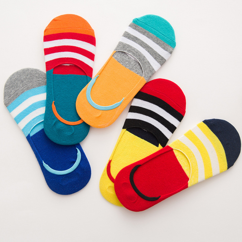 Spring Cotton Invisible Socks Men Pinstriped Shallow Calcetines Meias Silicone Nonslip Men Socks Cotton 021903