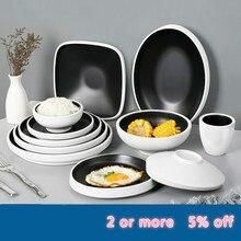 Tableware-Set Dish-Plate Melamine Plastic Porcelain-Bowl Cutlery Imitation Outdoor Hotel