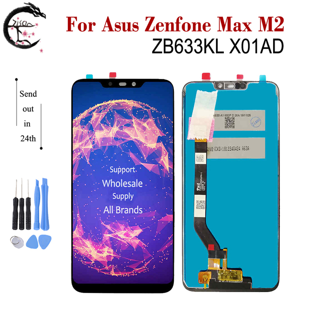 "6.3 ""LCD ใหม่สำหรับ Asus ZenFone MAX M2 ZB633KL X01AD LCD จอแสดงผล TOUCH SENSOR Digitizer ASSEMBLY ZB633 ZB633KL จอแสดงผล"