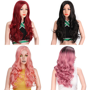 Image 3 - AISI BEAUTY Long Wavy Red Black Pink Synthetic Wigs for Women Cosplay Party Female Daily False Hair Heat Resistant