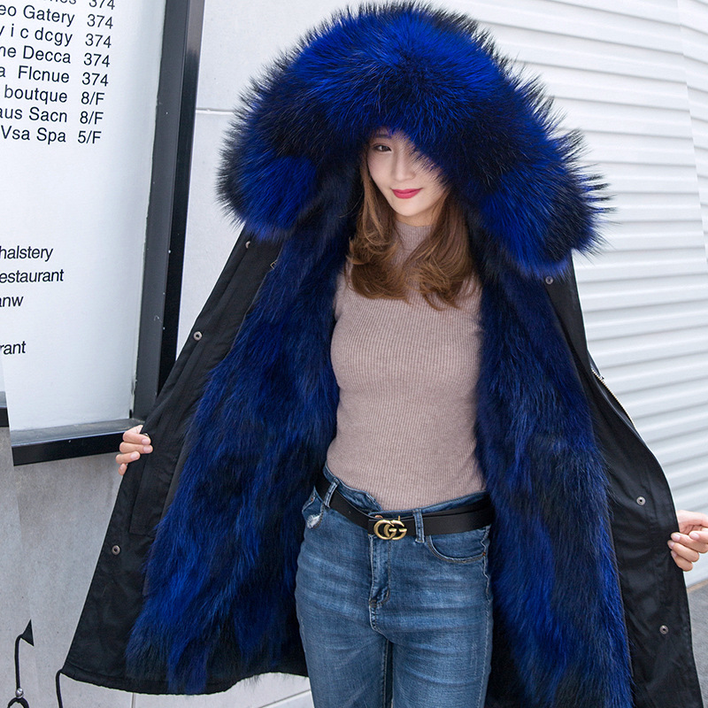 Coats Women Jackets Parkas Hooded Raccoon-Fur Ladies Real Fashion Medium Tie Female Elegant
