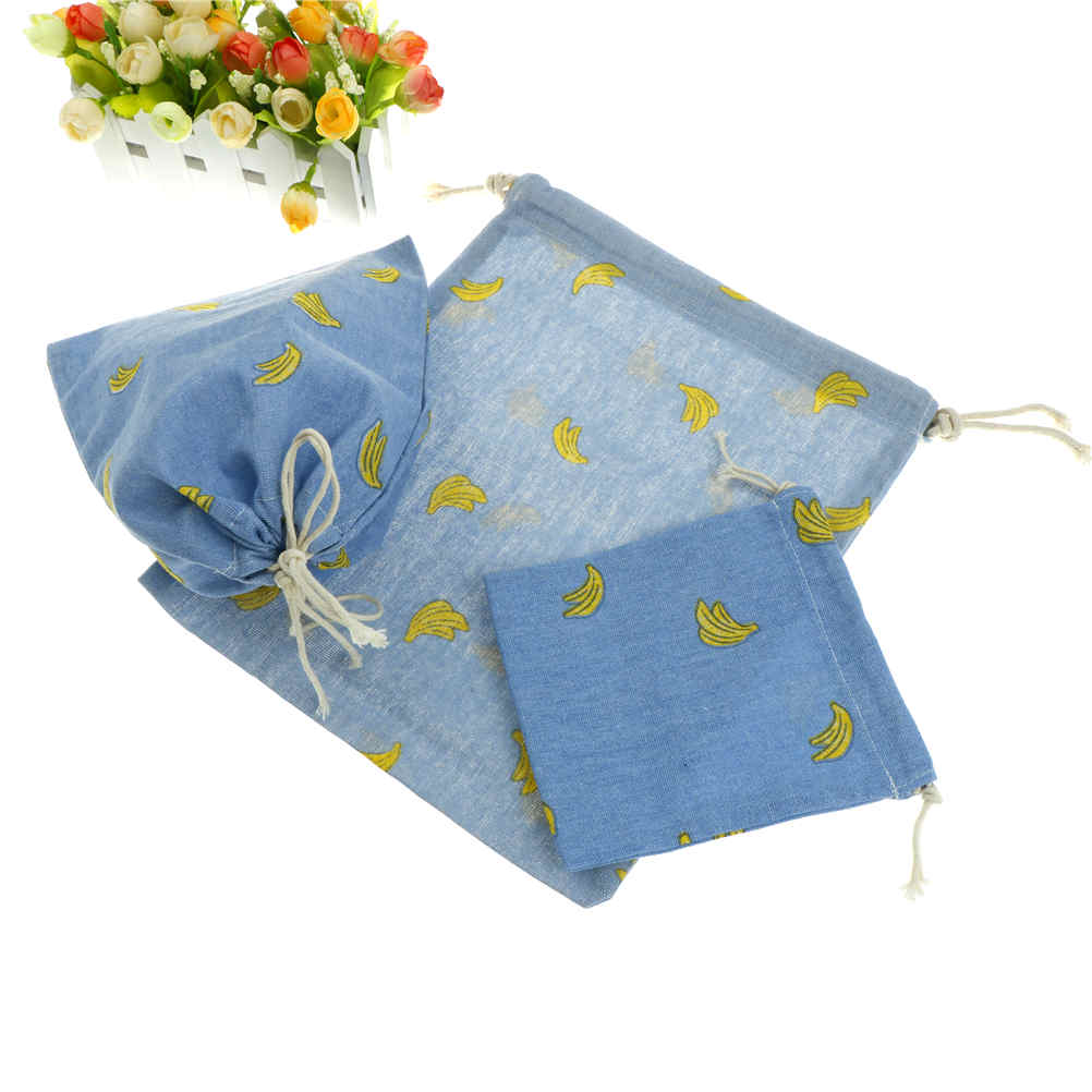 1Pcs 3Sizes Cotton Blue Banana Pouch Cartoon Candy Small  Bags Drawstring Bags