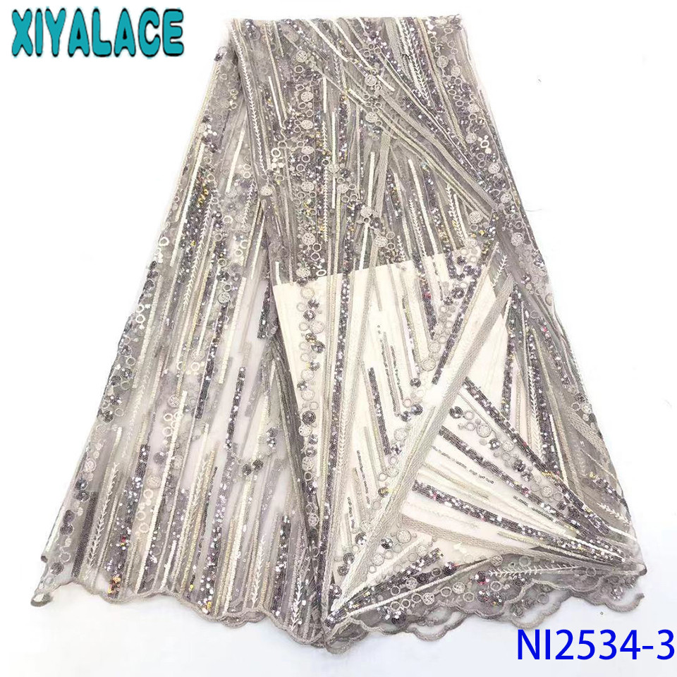2019 Latest French Nigerian Laces Fabrics High Quality Tulle Lace Fabric African Net Lace With Sequins KSNI2534