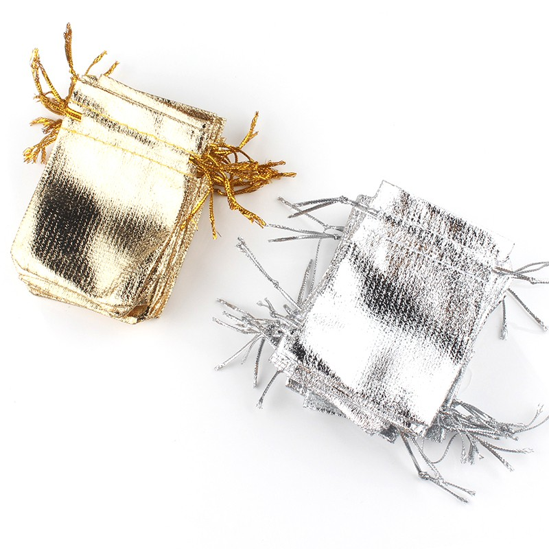 50pcs/lot Silver Gold Color Adjustable Jewellery Fashion Packing Bags Party Candy Drawstring Wedding Gift Bags 7x9/9x12cm