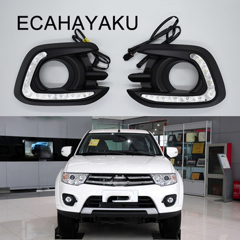 ECAHAYAKU led daytime running light for Mitsubishi pajero sport 2015 2016 drl with yellow turn signal light fog driving lamps