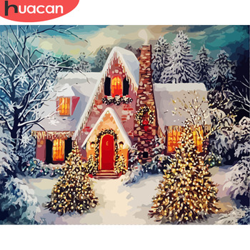 HUACAN Painting By Numbers Christmas Landscape Kits Drawing Canvas HandPainted DIY Oil Pictures By Numbers Winter Scenery