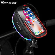 цена на WEST BIKING Cycling Bags MTB Bike Top Tube Frame Handlebar Phone Bag Case Pannier For 6.0in Phone Touch Screen Bicycle Front Bag