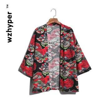Nowy kardigan kimono mężczyźni japoński Obi mężczyzna Yukata męska Haori japoński samuraj odzież tradycyjna japońska odzież Plus rozmiar tanie i dobre opinie wzhyper Linen Pełna