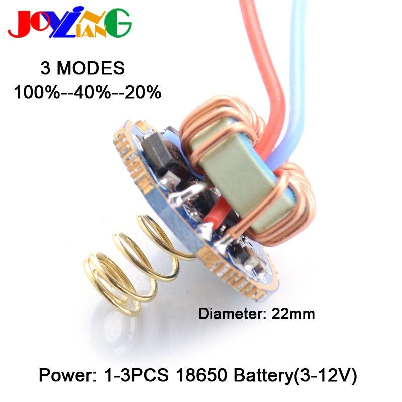 Hiçbir SOS tarzı el feneri 100%-40%-20% 3 modu LED sürüş plakası evrensel sabit akım T6/U2/L2 sürücü panosu Qx9920 22mm