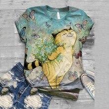 Tshirt Women Plus Size Short Sleeve 3d Animal Printed O-neck Tops Tee T-shirt Ha