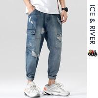 Men 2019 Hip Hop Pockets Hole Denim Cargo Pants Jeans Mens Casual Joggers Baggy Harajuku Streetwear Tactical Trousers Pants Men