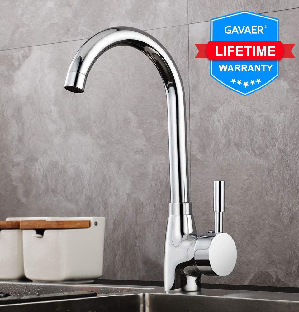 Gavaer Single Handle Single Hole Kitchen Faucet 360 Rotate Kitchen Sink Tap Design Hot And Cold Dual Use 8/3 Hose With 1/2 Adapt