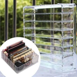 Image 2 - Caja de almacenamiento de organizador de maquillaje de acrílico transparente de 8 rejillas, caja de almacenamiento de maquillaje para mujeres, lápiz labial, sombra de ojos, soporte de exhibición, caja de almacenamiento de cosméticos