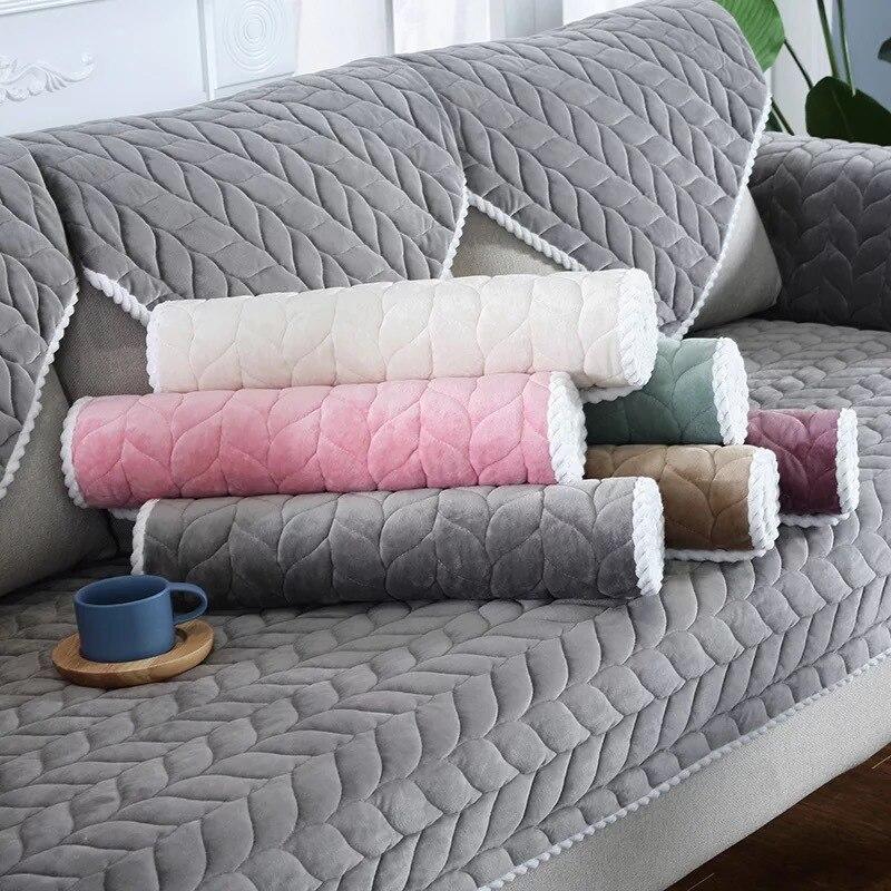 Engrossar capa de sofá tecido de pelúcia rendas deslizamento resistente slipcover assento estilo europeu sofá capa toalha para sala estar decoração