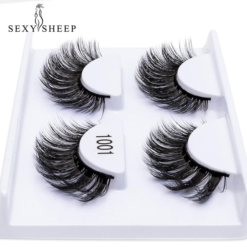 SEXYSHEEP 2 Pairs Natural False Eyelashes Fake Lashes Thick 3D Mink Lashes Eyelash Extension Soft Eyelashes Maquiagem