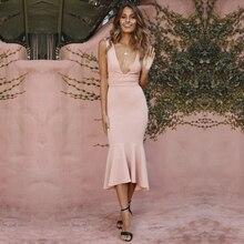 فستان صيفي أحمر اللون للنساء من ADYCE فستان بتصميم حورية البحر من Vestidos لعام 2020 بدون أكمام بقصة رقبة على شكل v مناسب للحفلات
