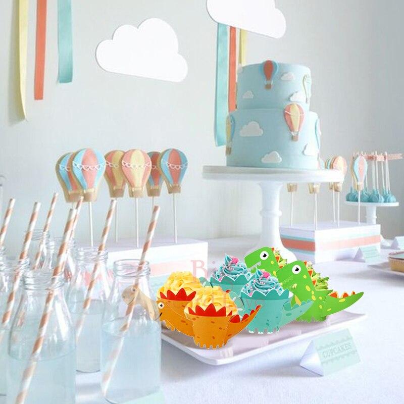 12 шт./партия обертки для кексов мультфильм Динозавры край по краю торта ребенок душ вечерние торт детская вечеринка на день рождения украшения