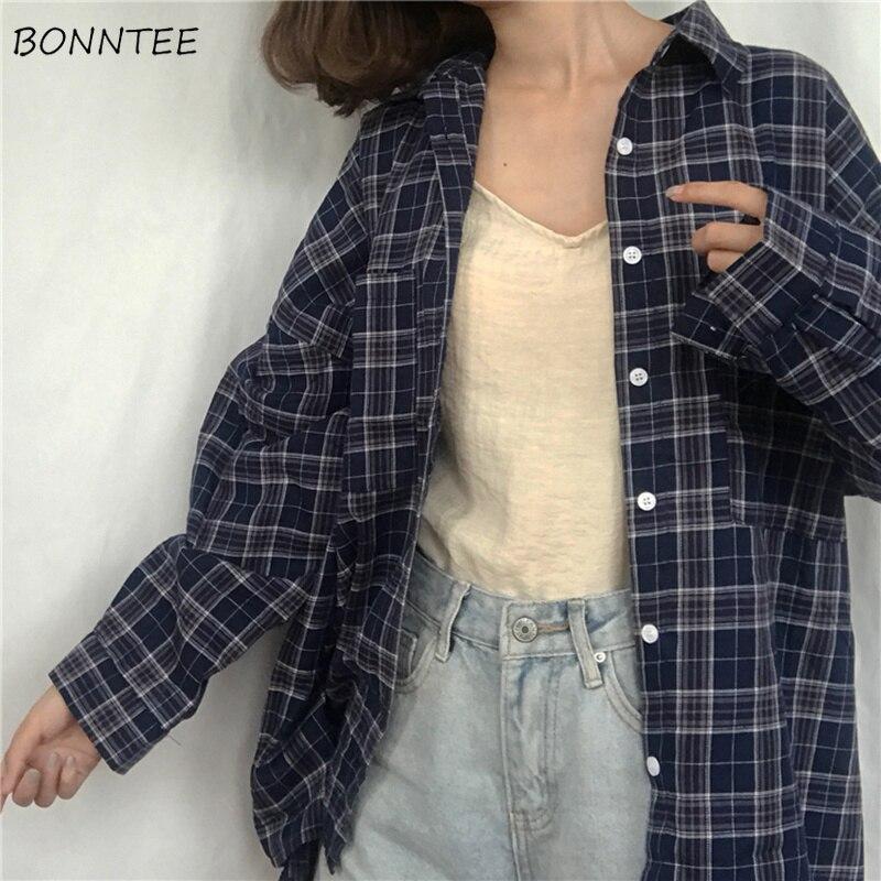 Shirts Women 2020 Classic Retro Elegant Turn-down Collar Pockets Plaid Womens Shirt Full Sleeve Leisure Loose Korean Style Girl