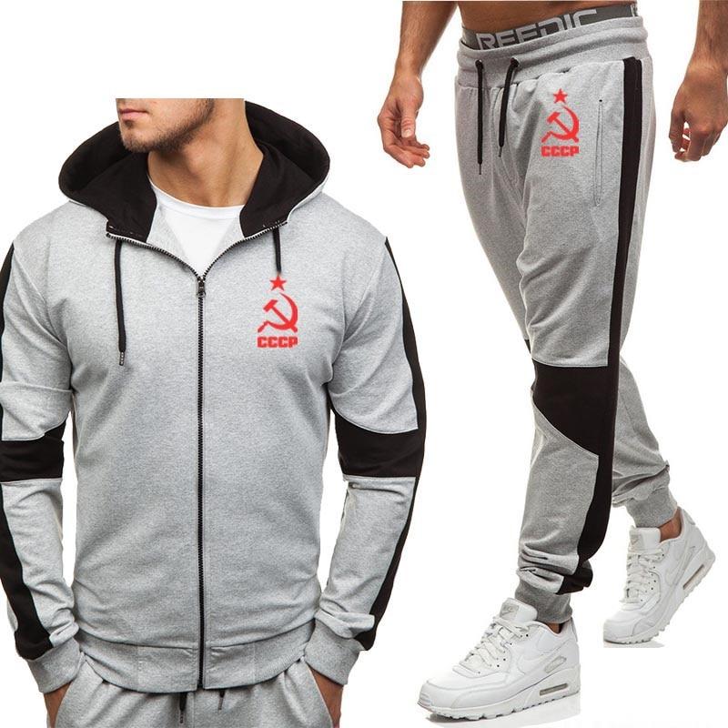 Hoodies Men Unique CCCP Russian USSR Soviet Union Print Fleece Warm Zipper Jacket Tracksuit Men Sweatshirt Sweatpants Suit 2Pcs