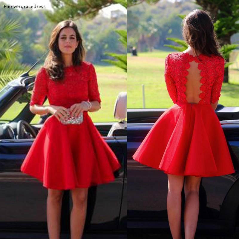 2019 Cheap Red Short Lace Homecoming Dress A Line Half Sleeves Juniors Sweet 15 Graduation Cocktail Party Dress Plus Size