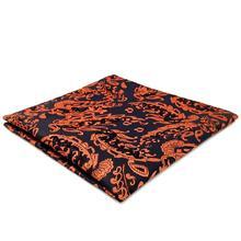 FH12 Paisley Mens Pocket Square Orange Blue Wedding Handkerchief Silk