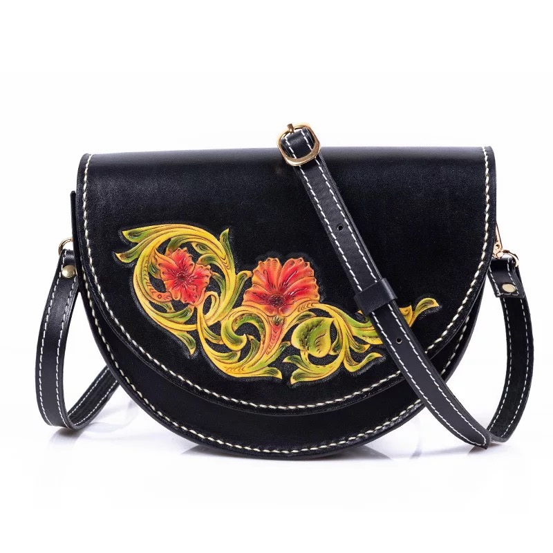 Vintage Genuine Leather Hand Engraved Women's Small Flower Shoulder Bag Long Chain Strap Female Saddle Bag Lady Semicircle Purse