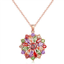 Womens Pendant Necklace Colorful Zircon Flower Winter Long Sweater Chain Jewelry